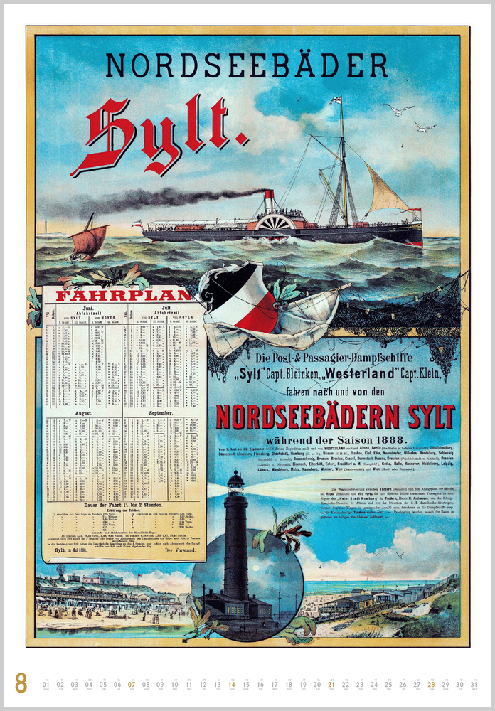 Augustvorschau für den achten Monat im Historische Schiffsplakate Kalender für 2022