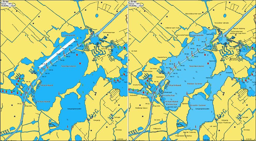 Das Sneekermeer in der 2021er Darstellung als Navionics Seekarte