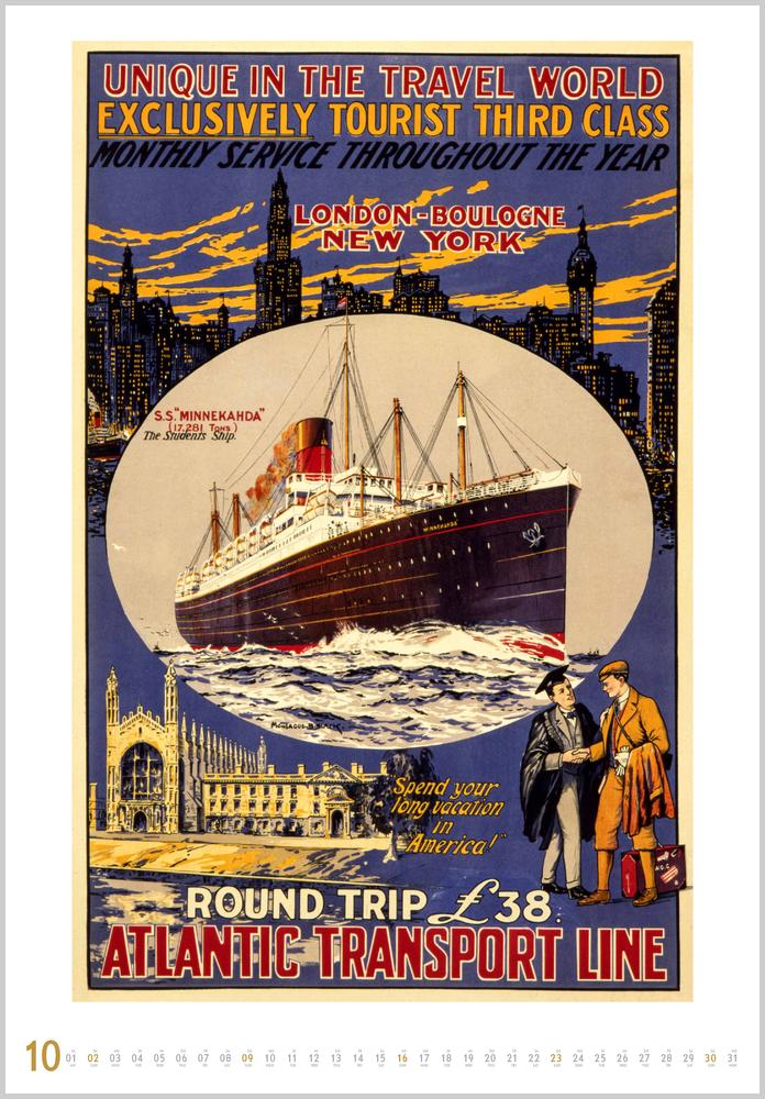 Monatsbild für Oktober des Historische Schiffsplakate 2022 Kalender