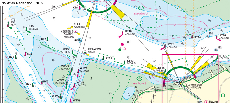 Detail Chart of Stavenisse Lighthouse in Oosterschelde waterway in Netherland before changes