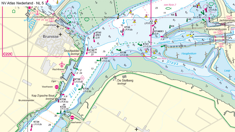 After Lighthouse Bruinisse turned off in October 2021 the chart looks different and navigation is done by lateral marks along Oosterschelde fairway.