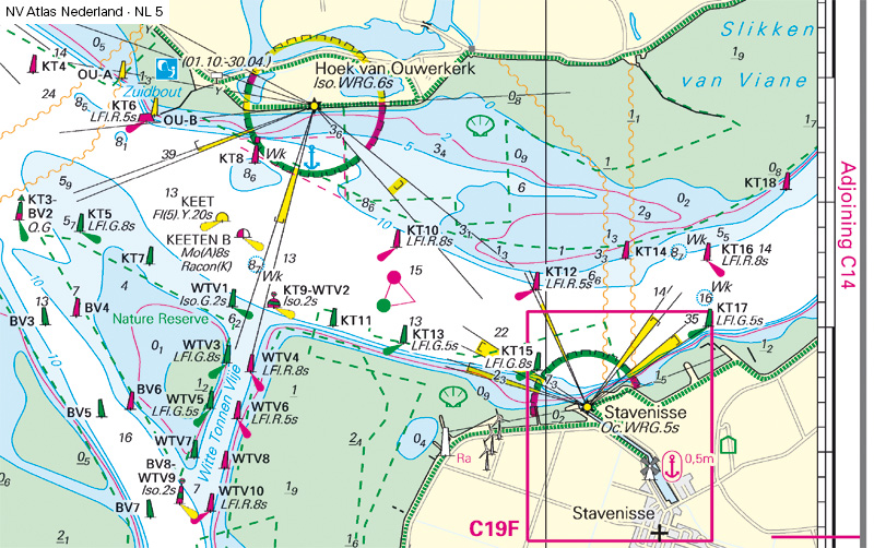 Chart of Oosterschelde waterway in Netherland before changes to light, buoys and navigation marks
