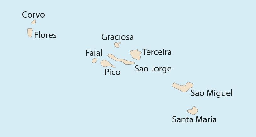 Karte der Azoren mit der Lage der Bezugsorte zur Gezeitenberechnung mit den Gezeitentafeln