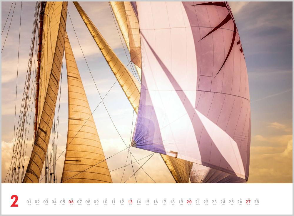 Februarvorschau für den zweiten Monat im Schönheit des Segelns Kalender für 2022