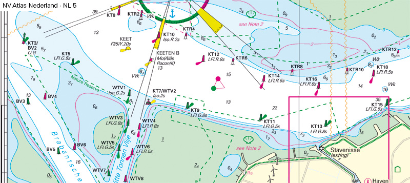 After Lighthouse Stavenisse turned off in October 2021 the chart looks different and navigation is done by lateral marks along Oosterschelde fairway.