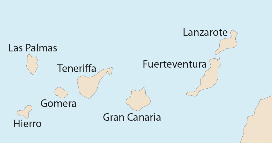 Karte der Bezugsorte zur Gezeitenvorausberechnung mit den Gezeitentafeln auf den Kanaren