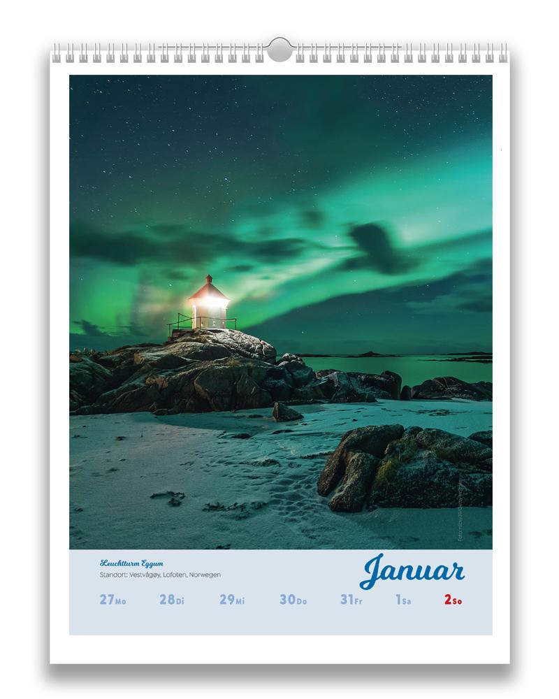 Wochenbeispiel aus dem Januar des Kalender Leuchttürme der Welt 2022