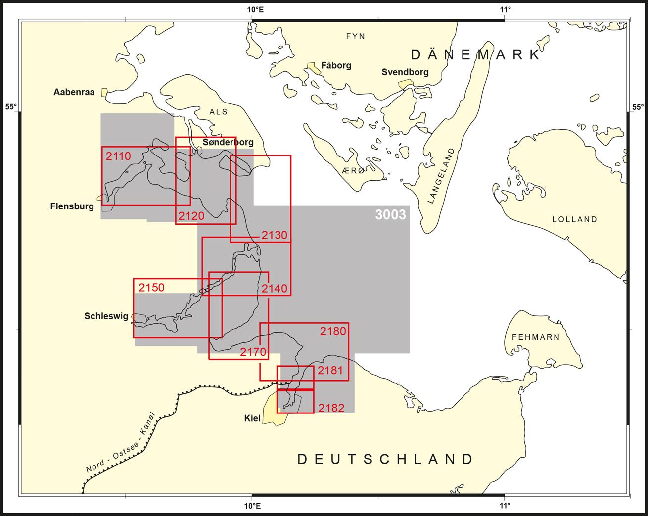 Karte der Ostseeküste zwischen Flensburg und Kiel mit den Grenzen der neuen Nationalen Seekarten vom Bundesamt für Seeschifffahrt und Hydrographie, die das Produkt BSH-3003 ersetzen.