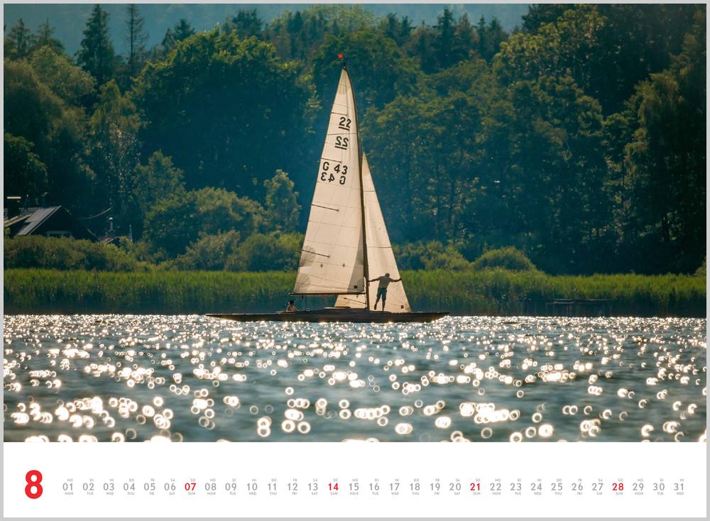 Augustvorschau für den achten Monat im Schönheit des Segelns Kalender für 2022