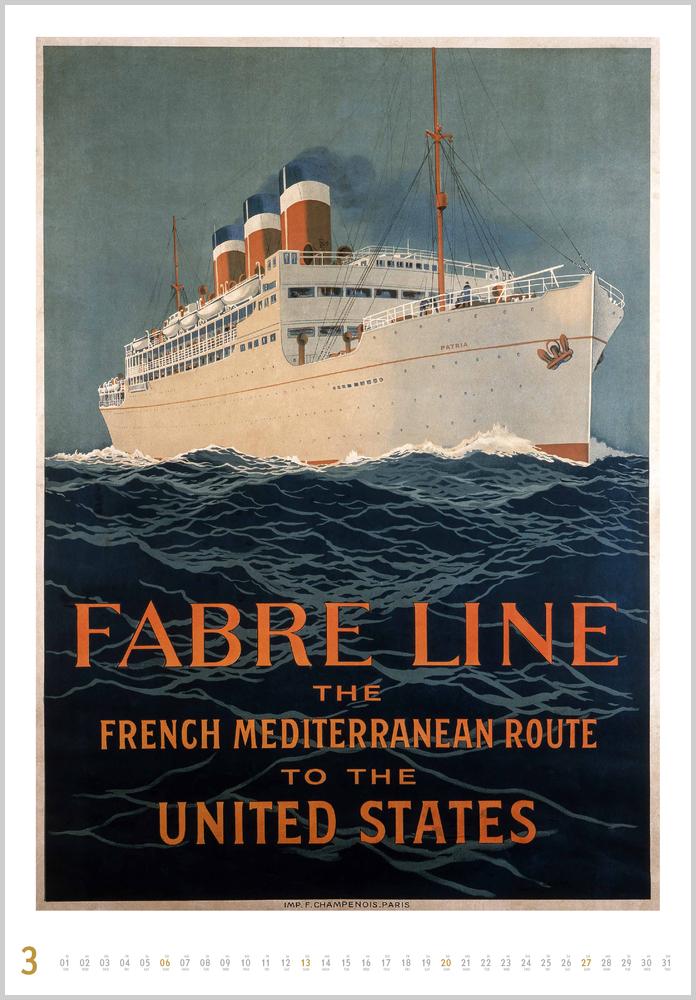 Dritter Monat in 2022, März, des Historische Schiffsplakate Kalender