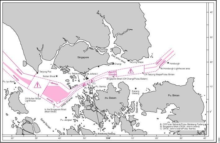 Karte des Seegebiet um Singapure herum mit der Darstellung aller Verkehrtrennungsgebiete, Schifffahrtswegen und anderen Elementen Routenführung
