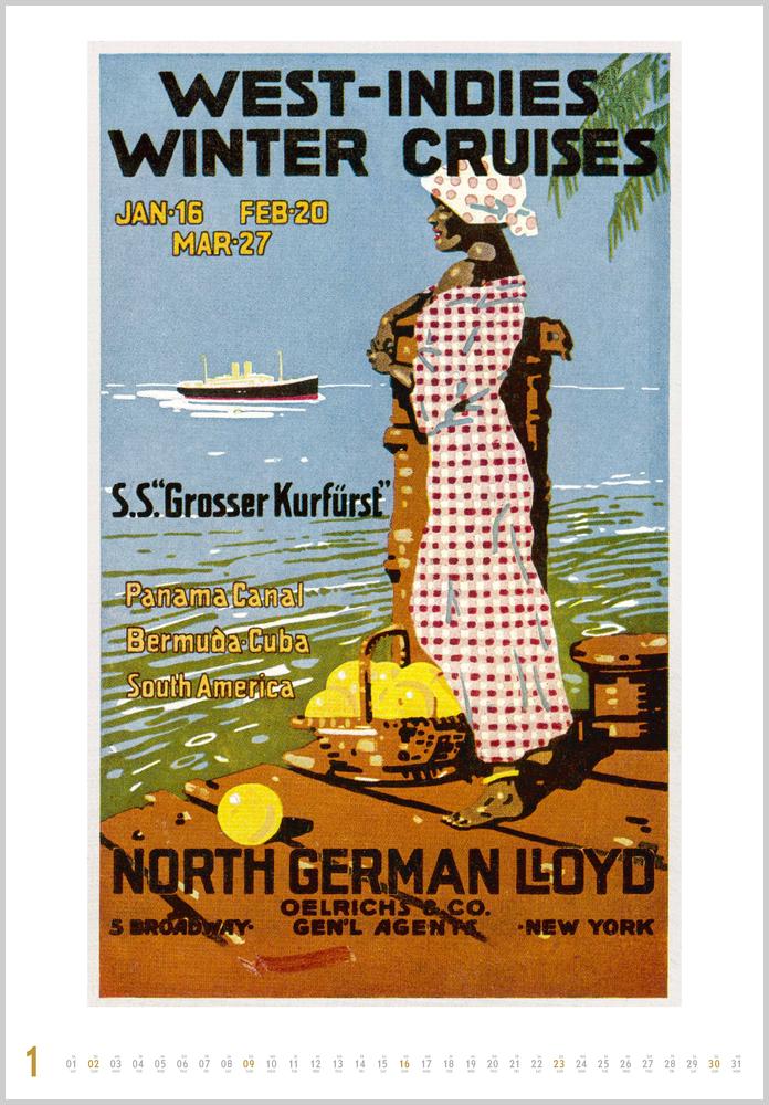 Monatsbild für Januar des Kalender Historische Schiffsplakate 2022