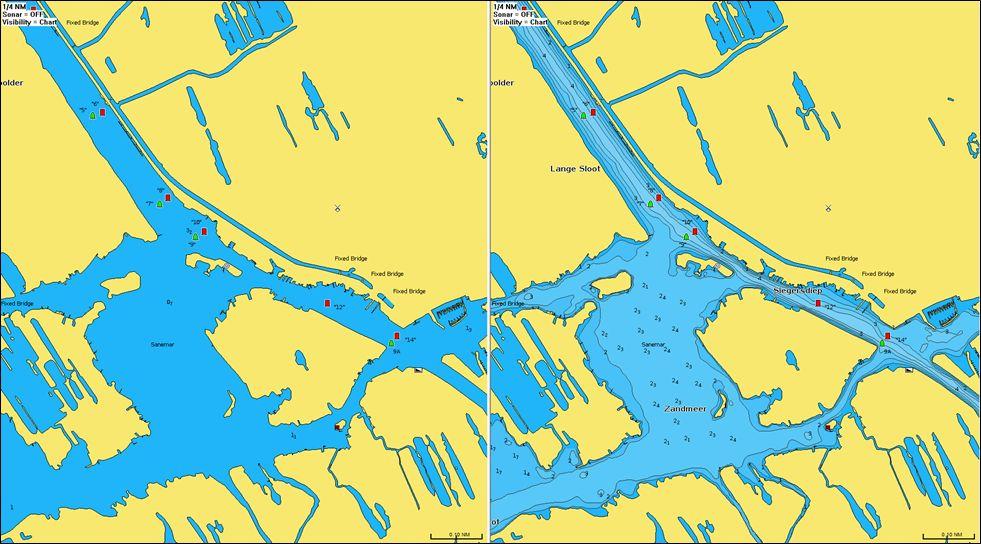 Das Zandmeer in der 2021er Darstellung als Navionics Seekarte