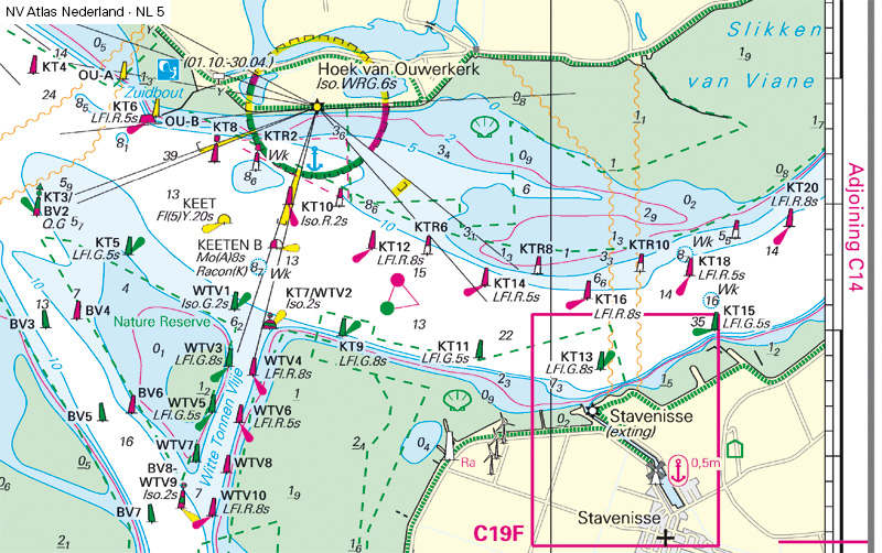 After the changes to the navigation marks in Oosterschelde the position and character of lighty, buoys and orientation has changed significantly.