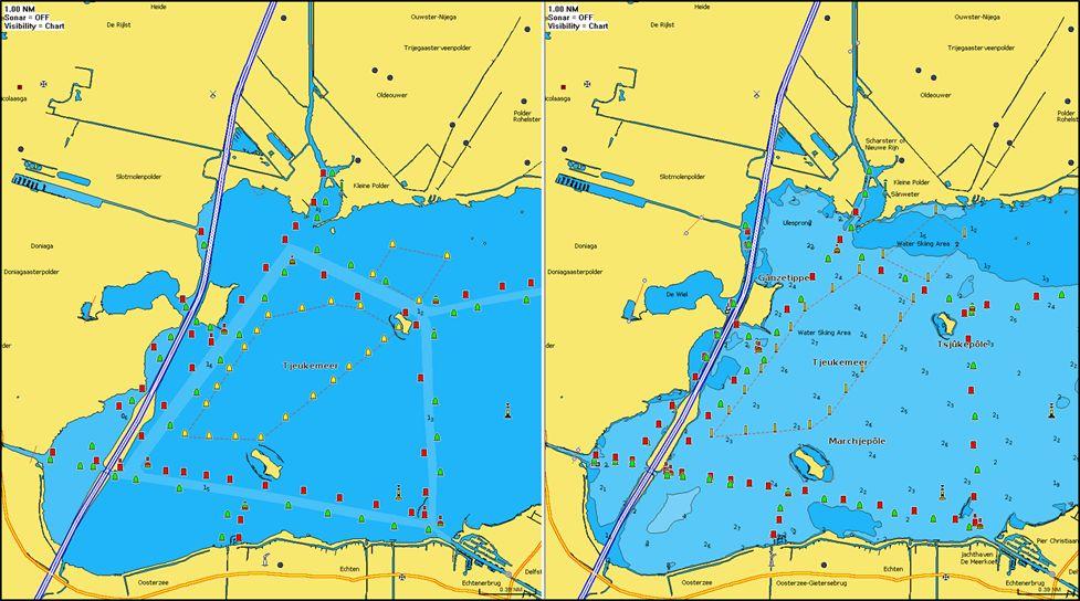 Das Tjeukemeer in der 2021er Darstellung als Navionics Seekarte