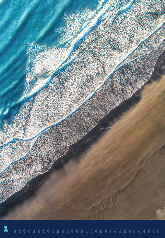 Monatsbild für Januar des Kalender Land + Meer von oben 2022