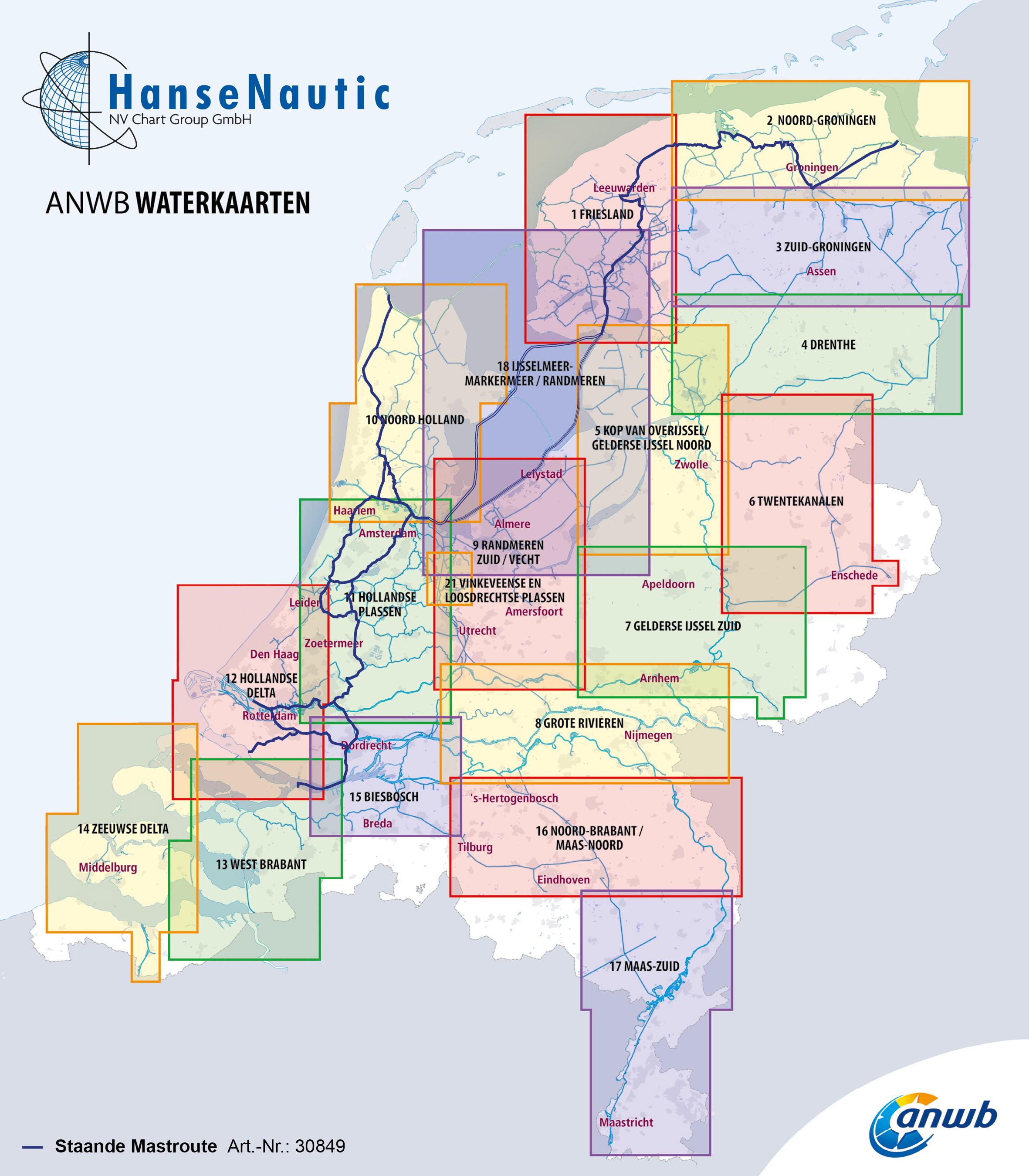 Karte mit den Abdeckungsgrenzen aller ANWB Karten für die Niederlande