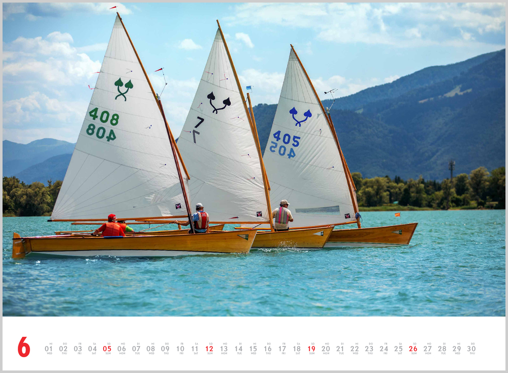 Im Juni zeigt der Schönheit des Segelns Kalender für 2022 dieses Bild