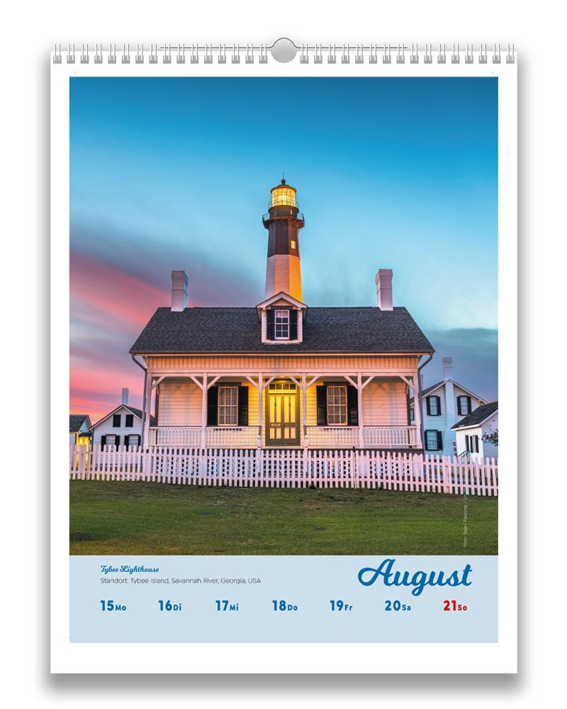 Vorschau einer Woche im August im Leuchttürme der Welt Kalender für 2022
