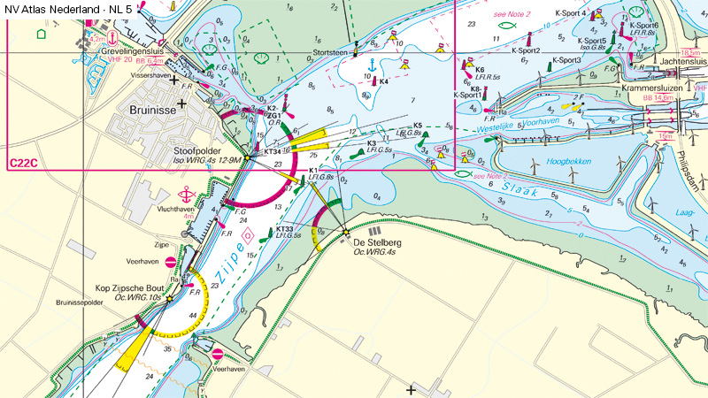 Detail Chart of Oosterschelde waterway near port of Bruinisse in Netherland before changes to navigation lights