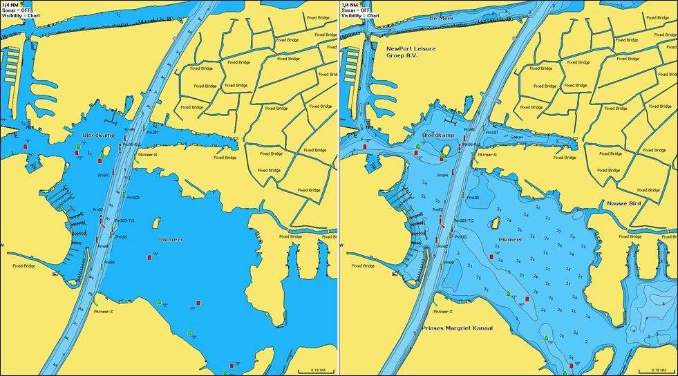 Das Pikmeer in der 2021er Darstellung als Navionics Seekarte