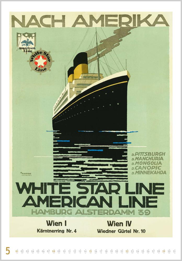 Vorschau für den fünften Monat Mai im Historische Schiffsplakate Kalender für 2022