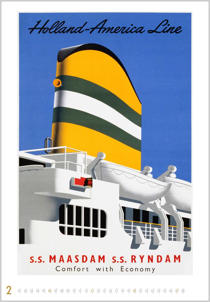 Februarvorschau für den zweiten Monat im Historische Schiffsplakate Kalender für 2022